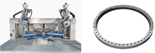 Induction hardening of large bearings and gears