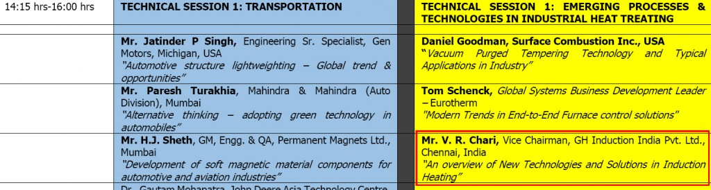 GH INDIA in the Conference Programme